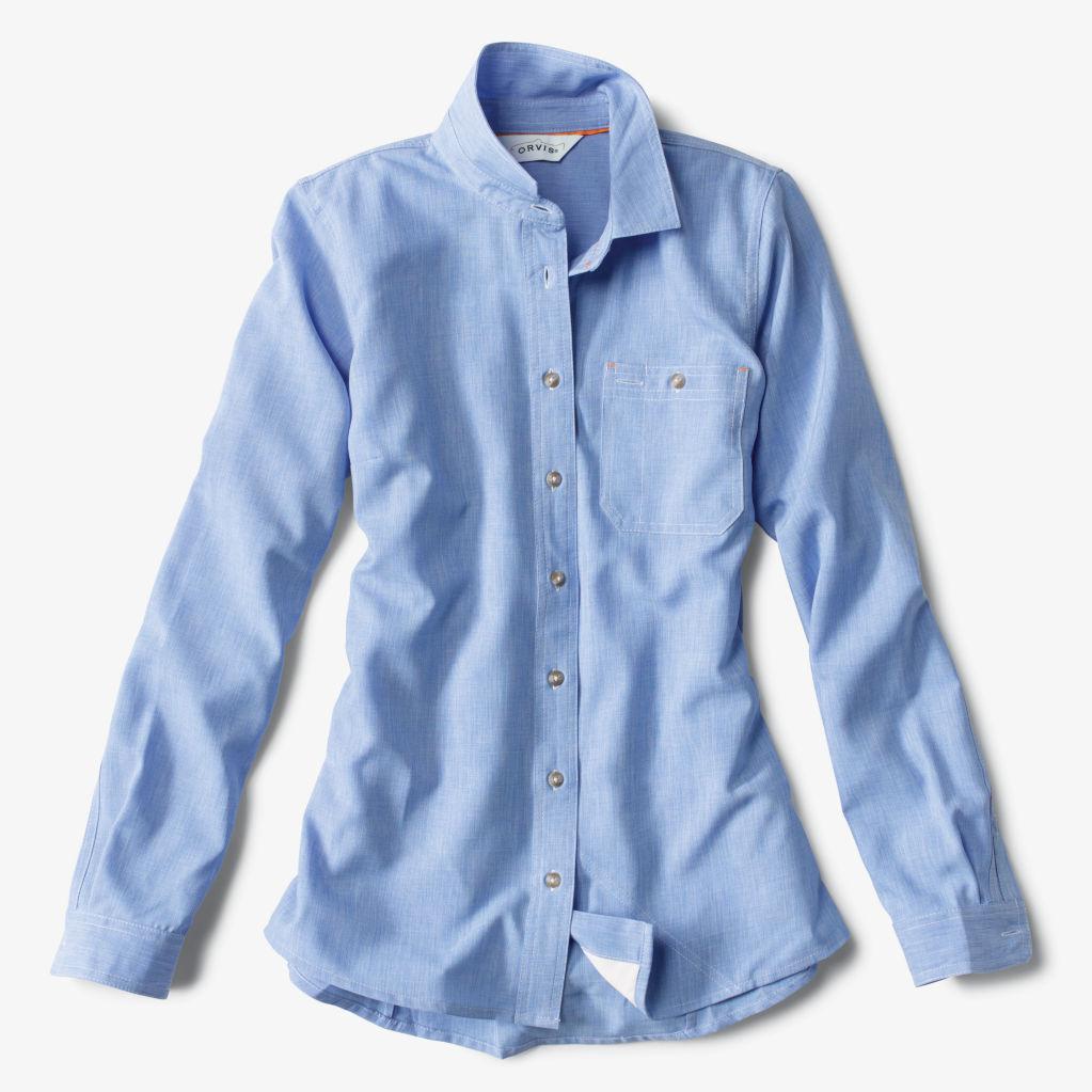Women's Tech Chambray Work Shirt in Medium Blue