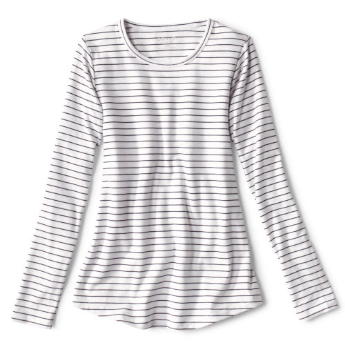 navy and white striped long-sleeved t-shirt