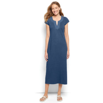 Embroidered Indigo Maxi Dress -  image number 0