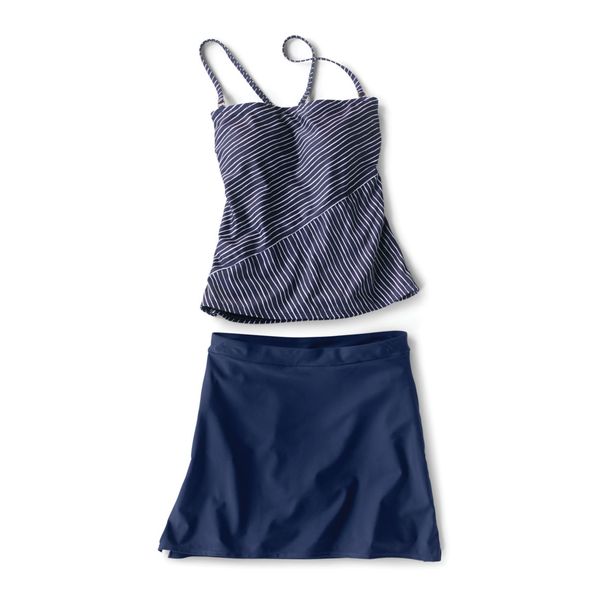 Mid-Thigh Swim Skirt - Nautical Stripe Tankini - NAVY STRIPEimage number 0