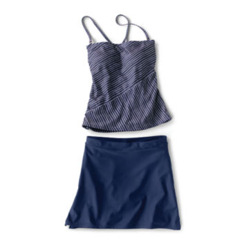 Mid-Thigh Swim Skirt - Nautical Stripe Tankini - NAVY STRIPE image number 0