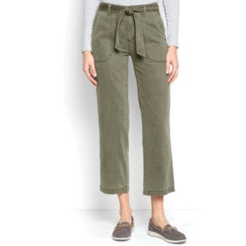 Homespun Twill Tie-Waist Pants - OLIVE image number 1