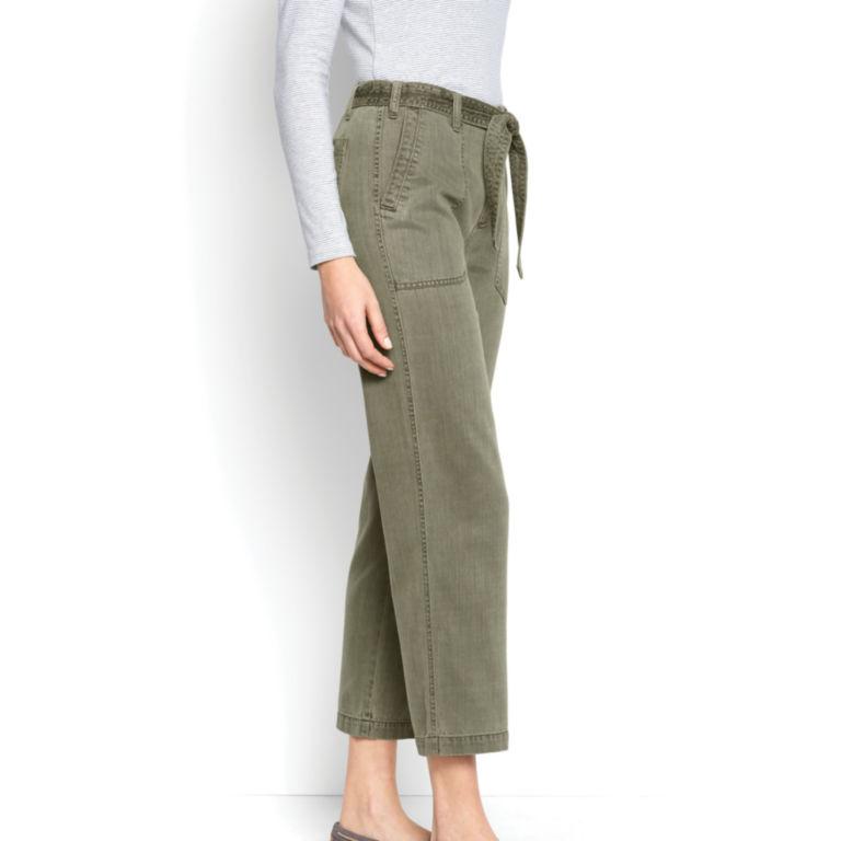 Homespun Twill Tie-Waist Pants - OLIVE image number 2