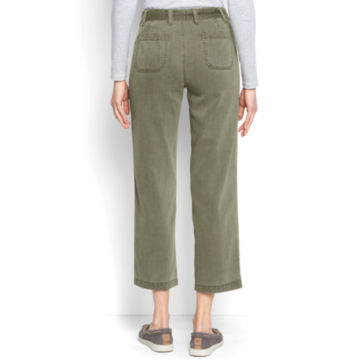 Homespun Twill Tie-Waist Pants - OLIVE image number 3