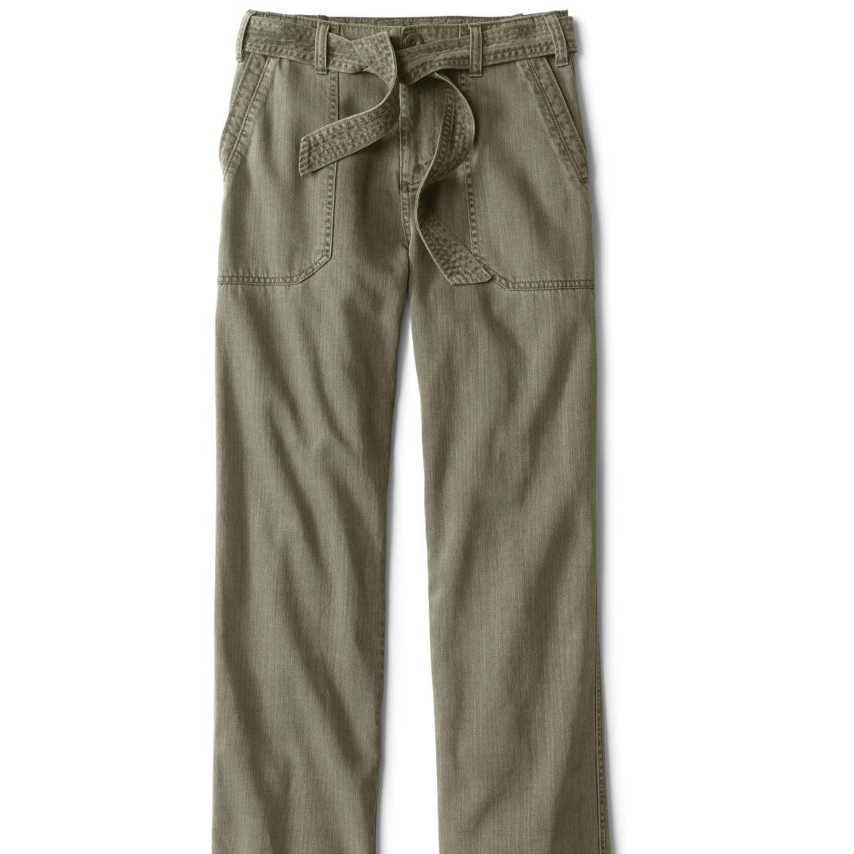 Homespun Twill Tie-Waist Pants - OLIVEimage number 0