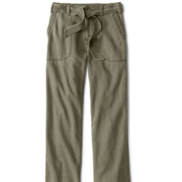 Homespun Twill Tie-Waist Pants - OLIVE image number 0
