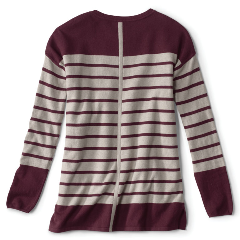Cotton/Cashmere/Silk Striped Tunic Sweater -  image number 1