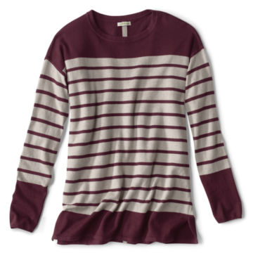 Cotton/Cashmere/Silk Striped Tunic Sweater -  image number 0