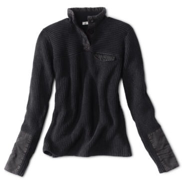 Mixed Media Quarter-Button Sweater -