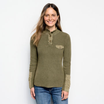 Mixed Media Quarter-Button Sweater -  image number 0