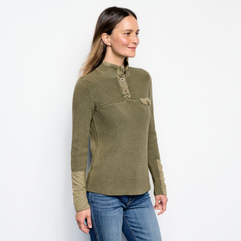 Mixed Media Quarter-Button Sweater -  image number 1