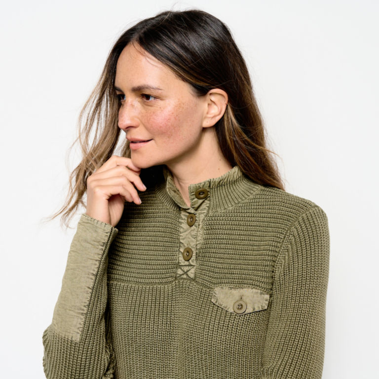 Mixed Media Quarter-Button Sweater -  image number 3