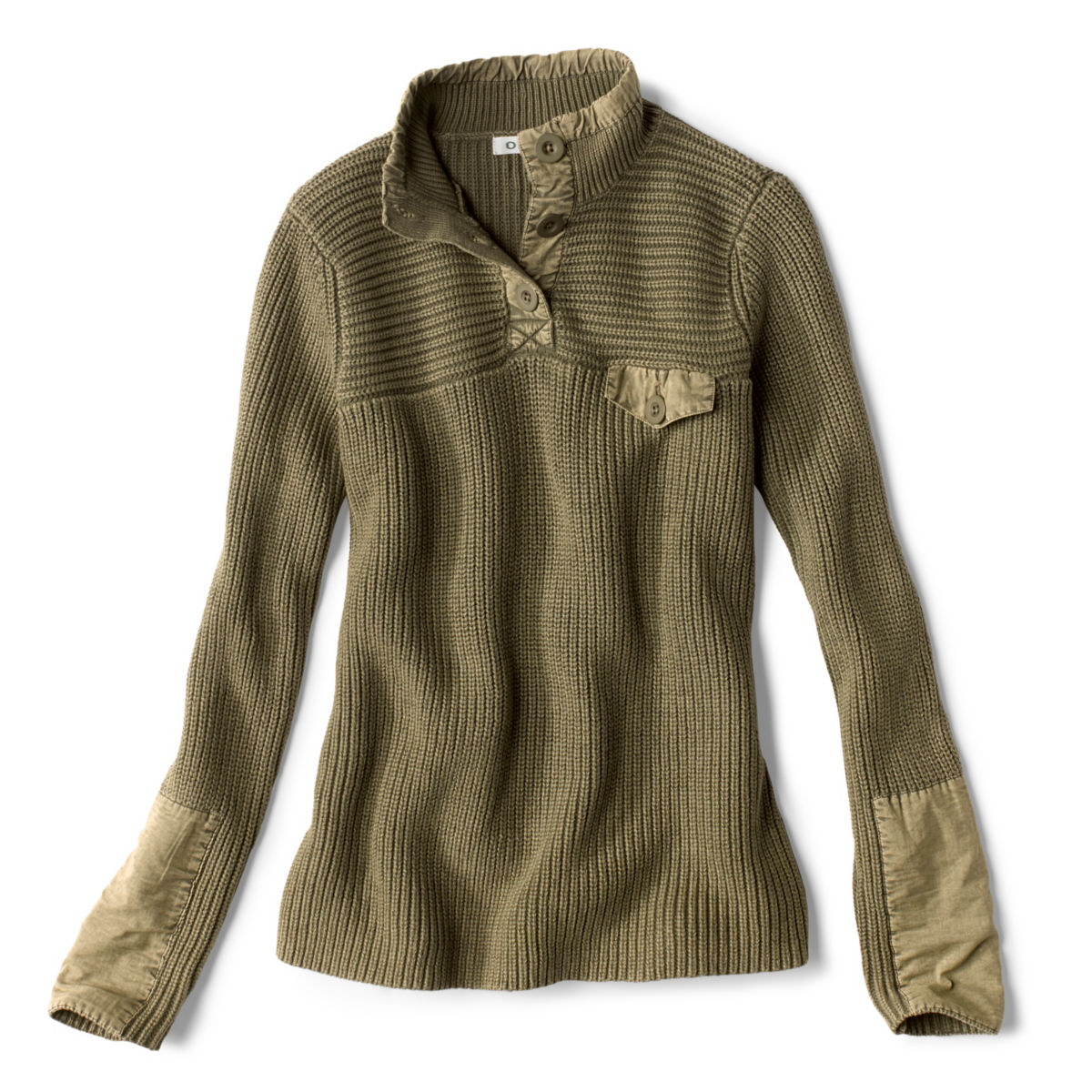 Mixed Media Quarter-Button Sweater - LODENimage number 0