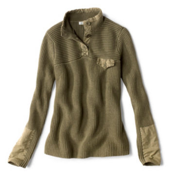 Mixed Media Quarter-Button Sweater -  image number 4