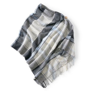 Wool Plaid Button-Detail Poncho -