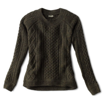 Wool/Cashmere Cable Crewneck Sweater - OLIVE image number 0