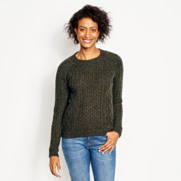 Wool/Cashmere Cable Crewneck Sweater - OLIVE image number 1
