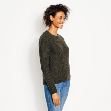 Wool/Cashmere Cable Crewneck Sweater - OLIVE image number 2