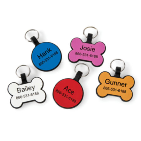 Collection of colorful collar tags