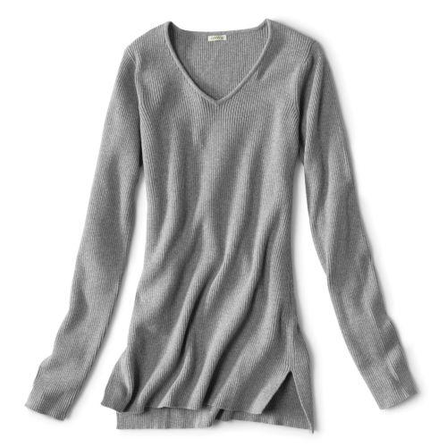 Ribbed V-Neck Sweater in Light Gray
