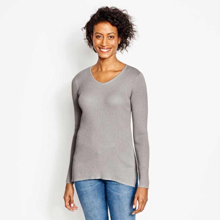 Ribbed V-Neck Sweater -  image number 0