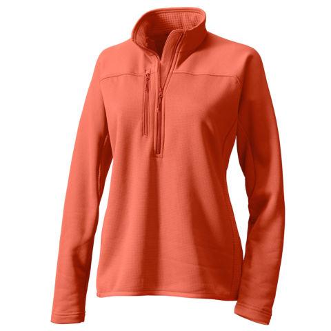 A reddish-orange women's Pro half-zip fleece