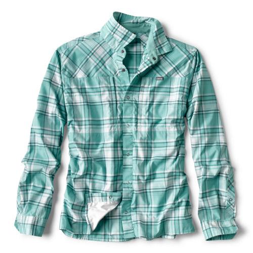 An Orvis Pro Sun plaid button-up shirt