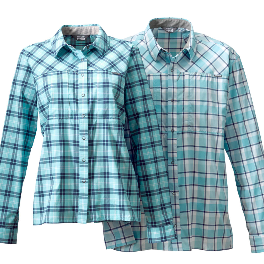 Men's and Women's Pro Stretch Long-sleeved Shirts in blue plaid