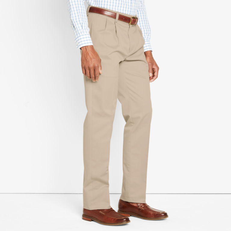Wrinkle-Free Cotton Stretch Chinos Pleated - KHAKI image number 1