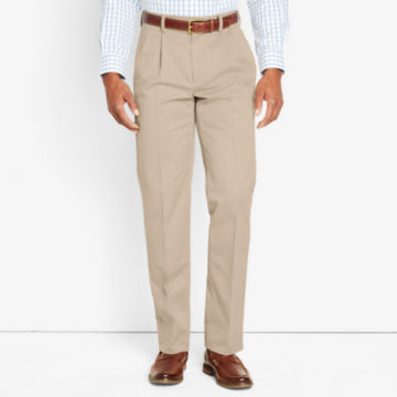 Wrinkle-Free Cotton Stretch Chinos Pleated - KHAKI image number 0