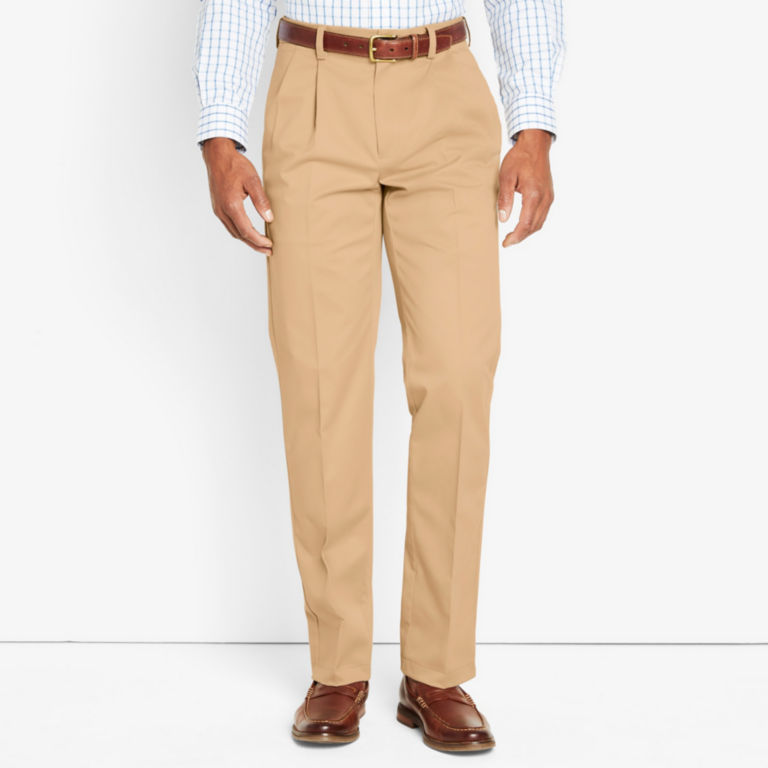 Wrinkle-Free Cotton Stretch Chinos Pleated -  image number 1