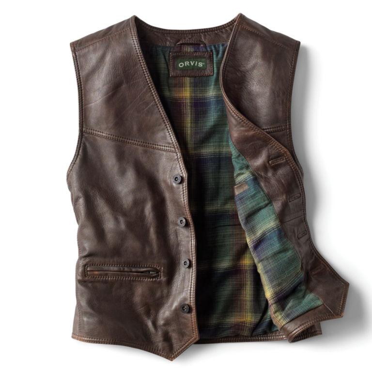 Powderhorn Leather Vest - DARK TAN image number 1