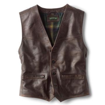 Powderhorn Leather Vest - DARK TAN image number 0