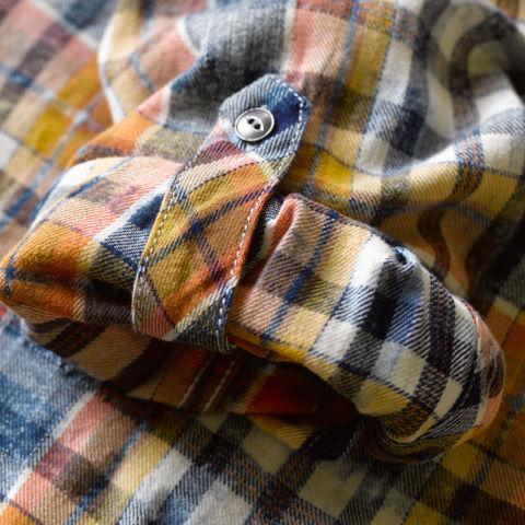 Detail of Washed Indigo Plaid shirt cuff
