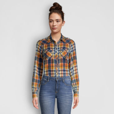 Washed Indigo Plaid Shirt -