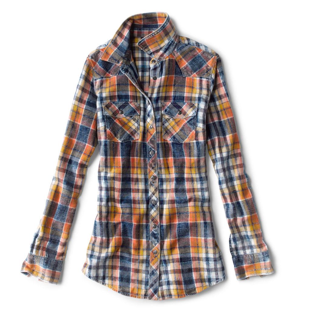 Women's Washed Indigo Plaid shirt in harvest gold