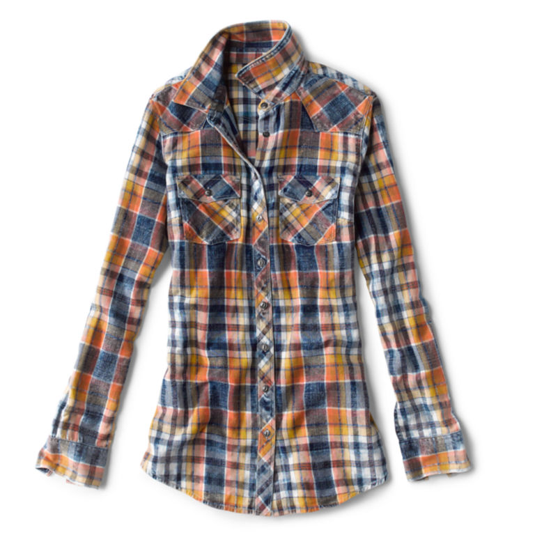 Washed Indigo Plaid Shirt -  image number 3