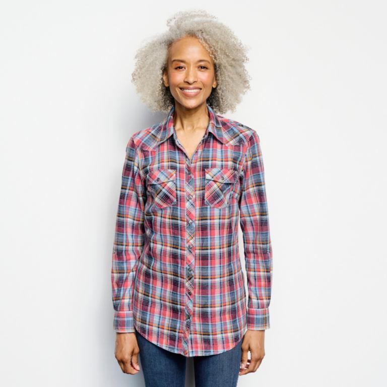 Washed Indigo Plaid Shirt -  image number 0