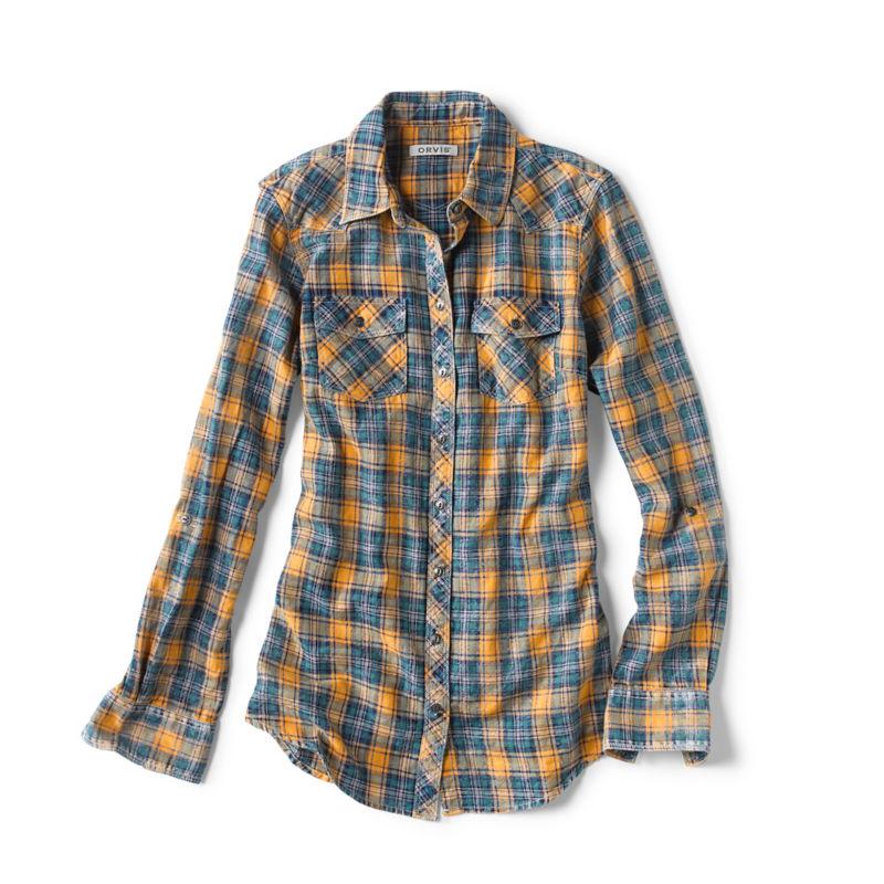 Vintage Western Wear Clothing, Outfit Ideas Washed Indigo Plaid Shirt $119.00 AT vintagedancer.com