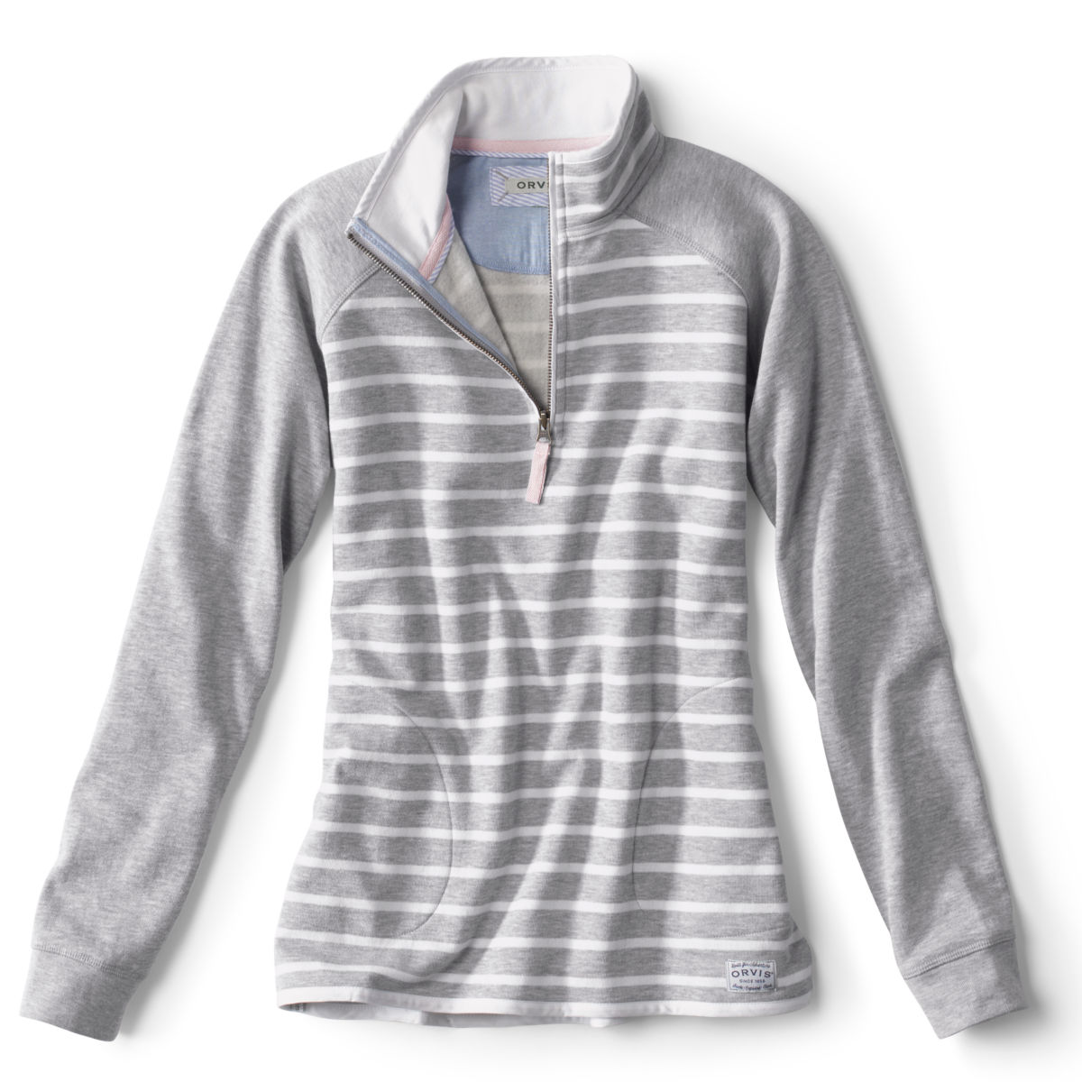 Signature Fleece Quarter-Zip - LT GRAY STRIPEimage number 0