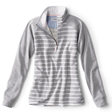 Signature Fleece Quarter-Zip - LT GRAY STRIPE image number 0