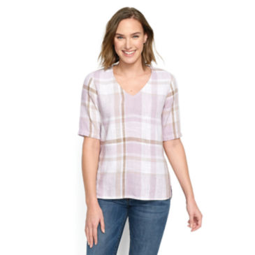 Textured Linen-Blend Plaid Top -