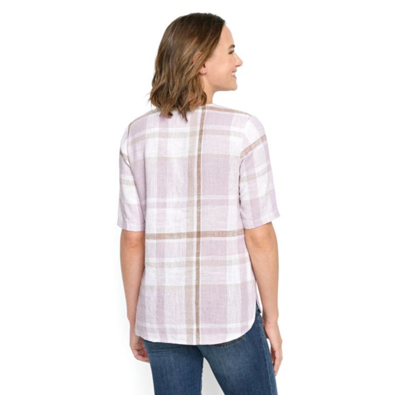 Textured Linen-Blend Plaid Top -  image number 2