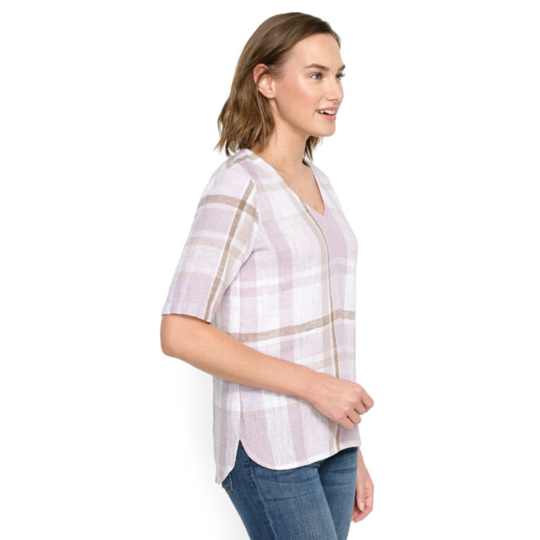 Textured Linen-Blend Plaid Top -  image number 1