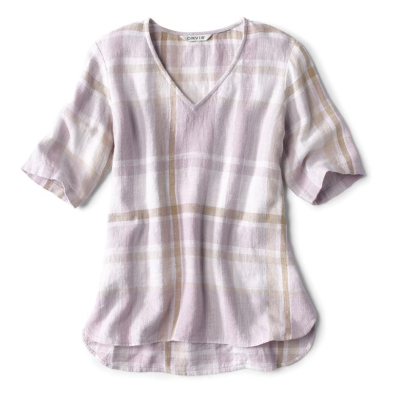 Textured Linen-Blend Plaid Top -  image number 5