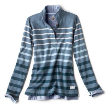 Organic Cotton Striped Quarter-Button Sweatshirt -  image number 0