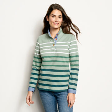 Organic Cotton Striped Quarter-Button Sweatshirt -  image number 0