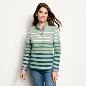Organic Cotton Striped Quarter-Button Sweatshirt -