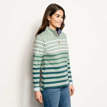 Organic Cotton Striped Quarter-Button Sweatshirt -  image number 1