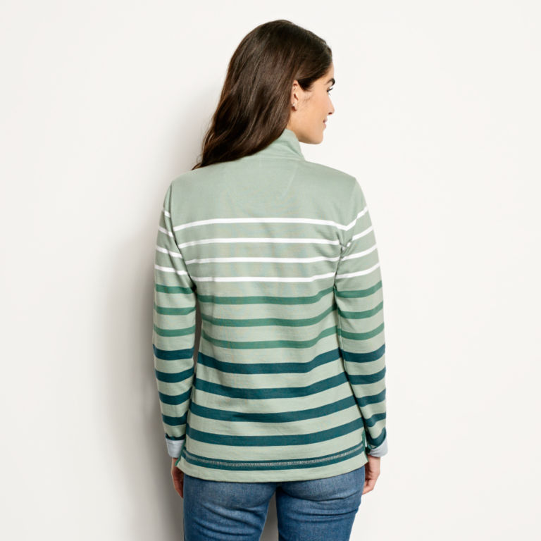 Organic Cotton Striped Quarter-Button Sweatshirt -  image number 2